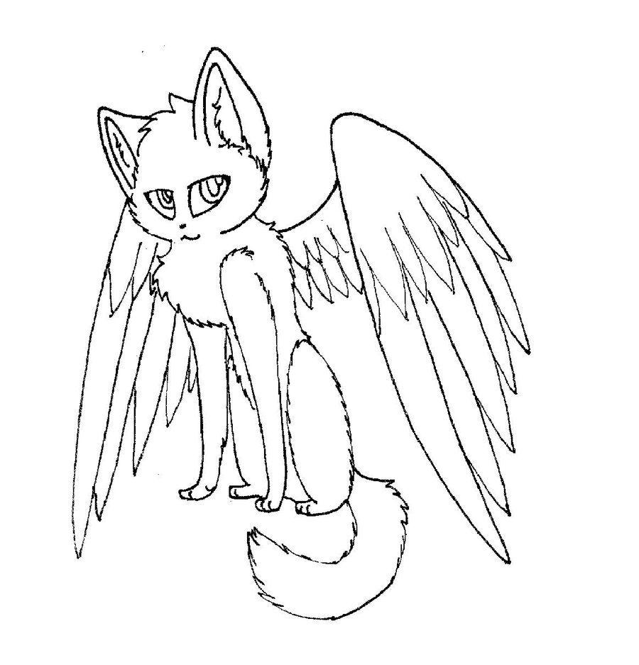 Winged Cat Coloring Pages to Print 4g - To print for your project