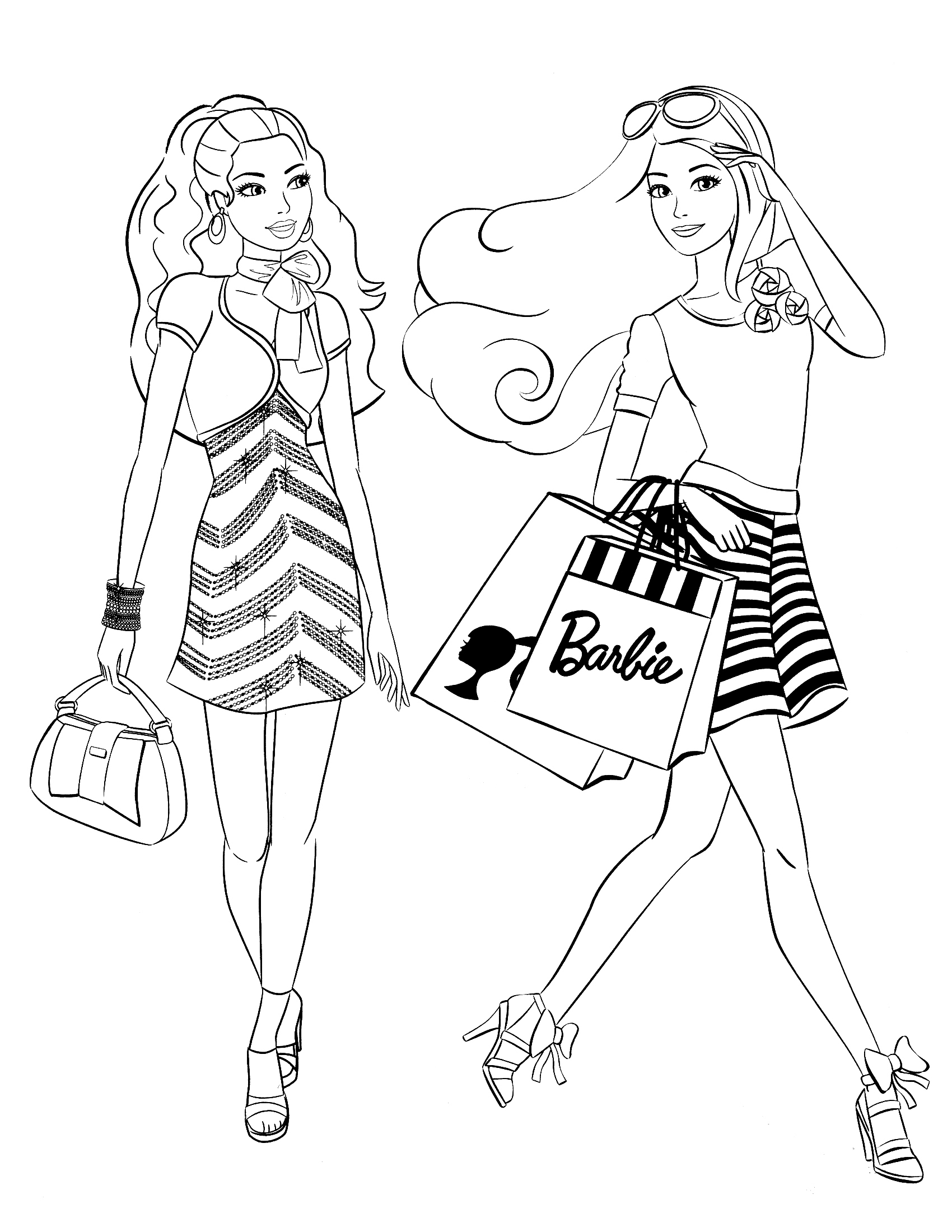 Barbie Coloring Pages Coloringsuite Download Of Christmas Shopping Coloring Page Download