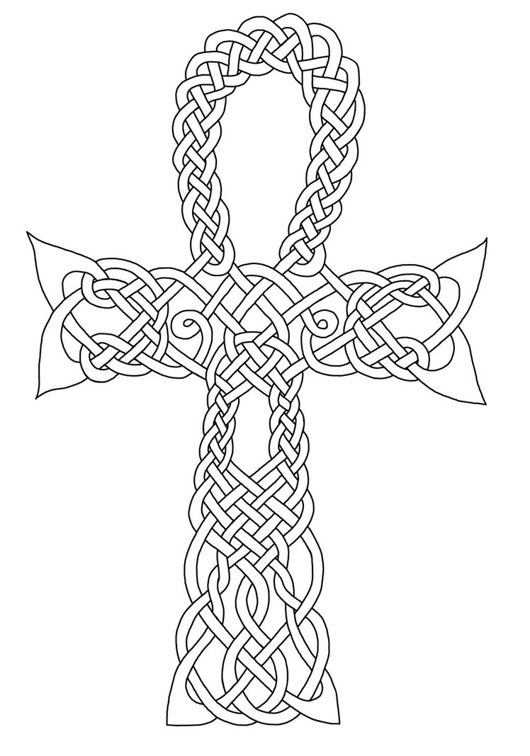 Celtic Cross Mandala Coloring Pages Worksheet Printable