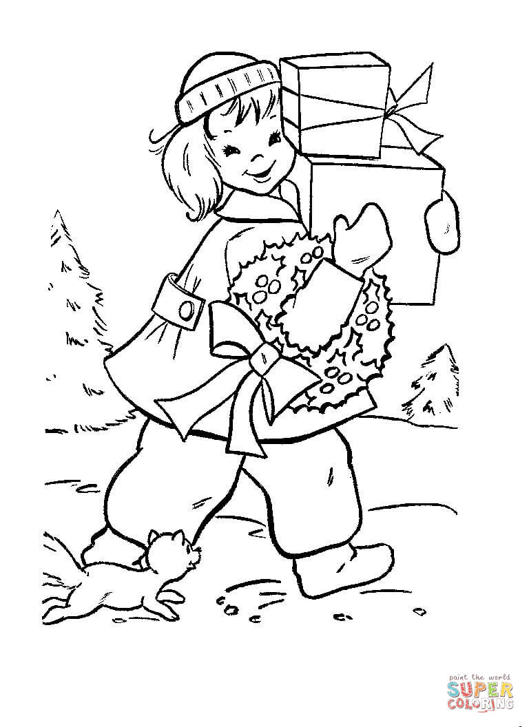 Shopping Coloring Pages - Christmas Shopping Coloring Page Download