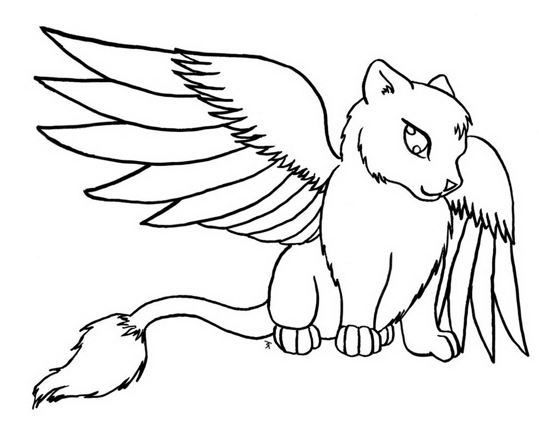 It's just a photo of Witty Cat With Wings Coloring Pages