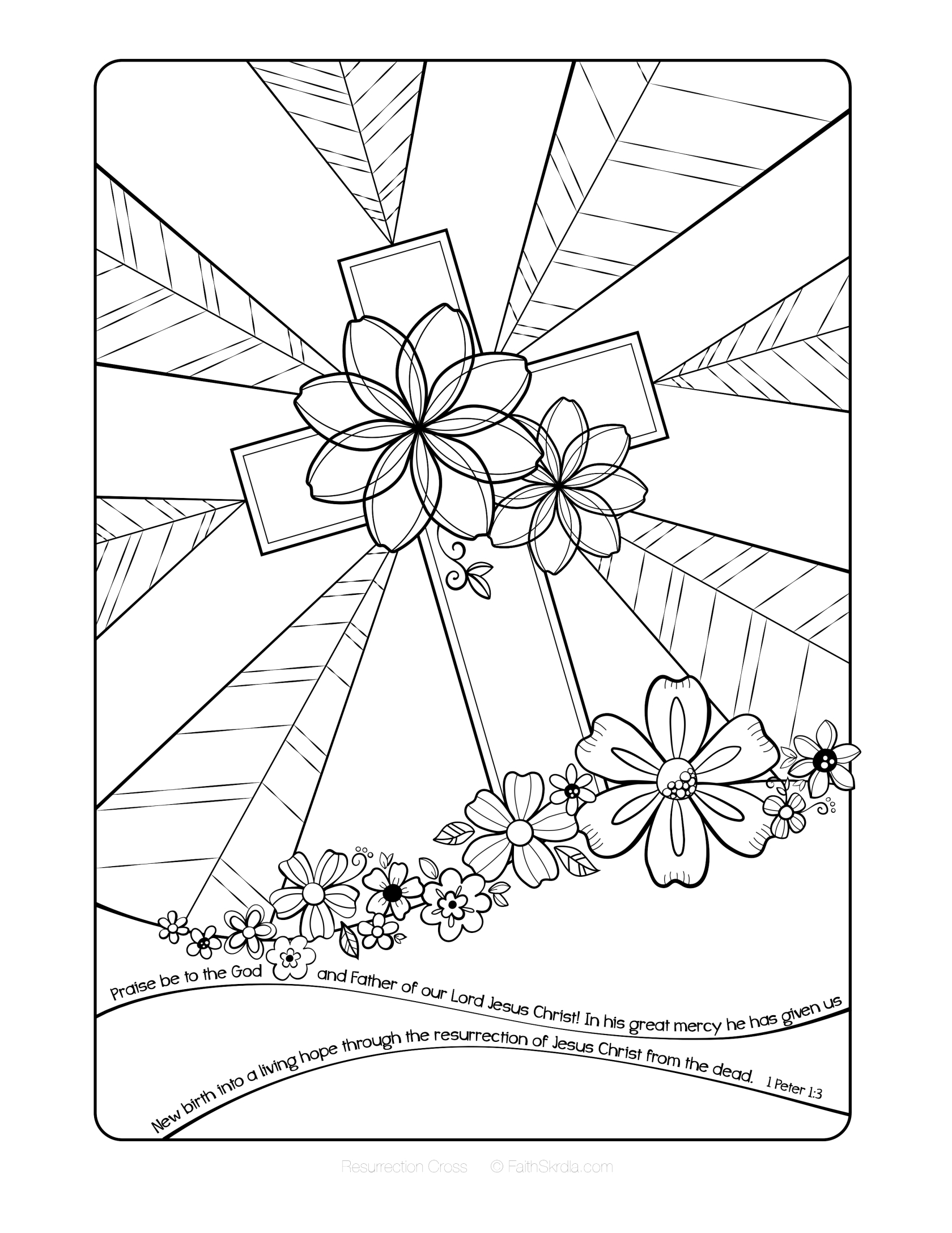 Free Easter Adult Coloring Page by Faith Skrdla Resurrection Cross 1 ...