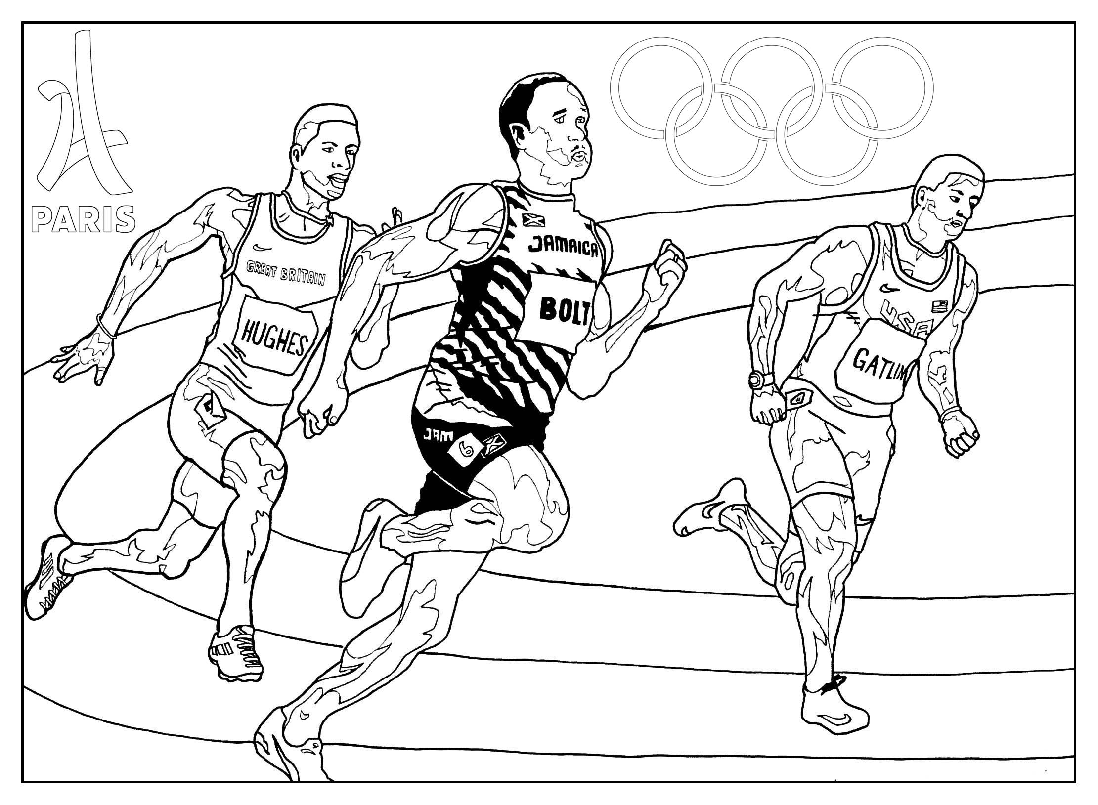 Games athletics Paris 2024 Olympic & Sport Adult Coloring Pages Collection Of Olympic Games Gymnastic Paris 2024 Olympic & Sport Adult to Print