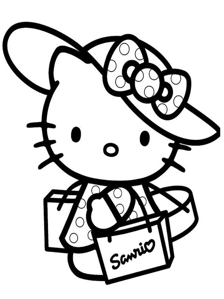 Hello Kitty Home Shopping Hello Kitty Coloring Pages Download Of Christmas Shopping Coloring Page Download