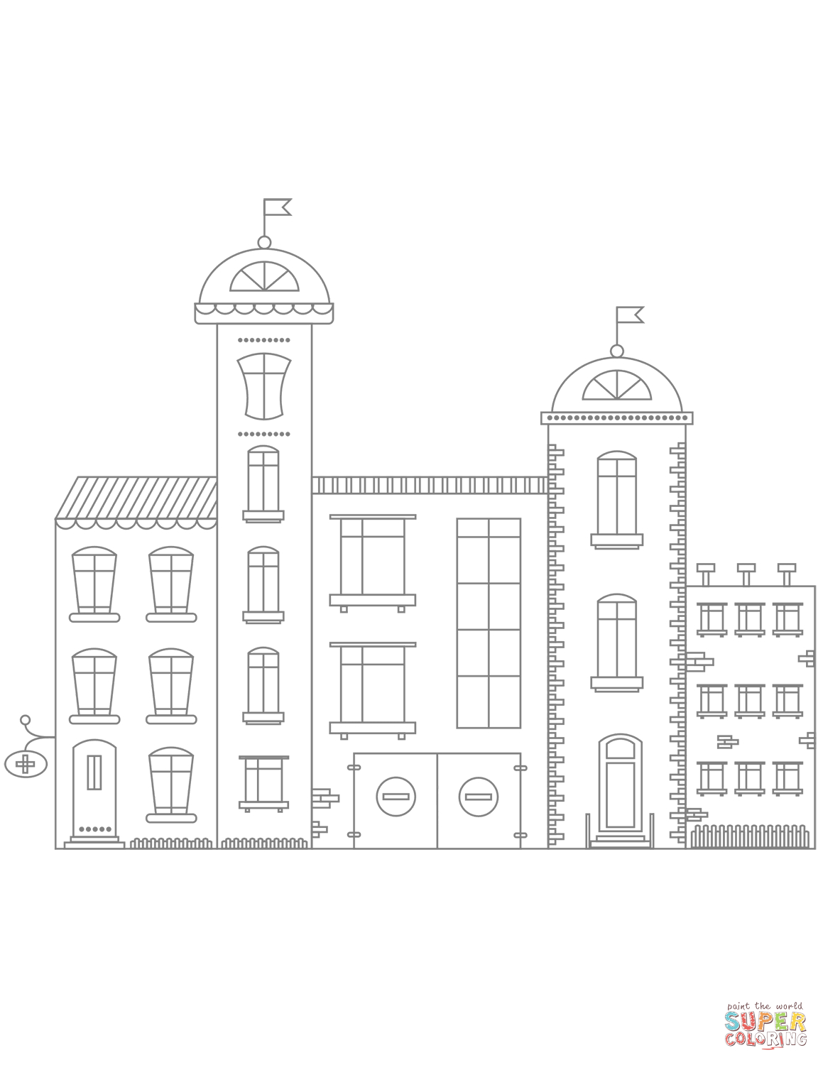 Hospital Building Coloring Page Printable – Free Coloring Sheets