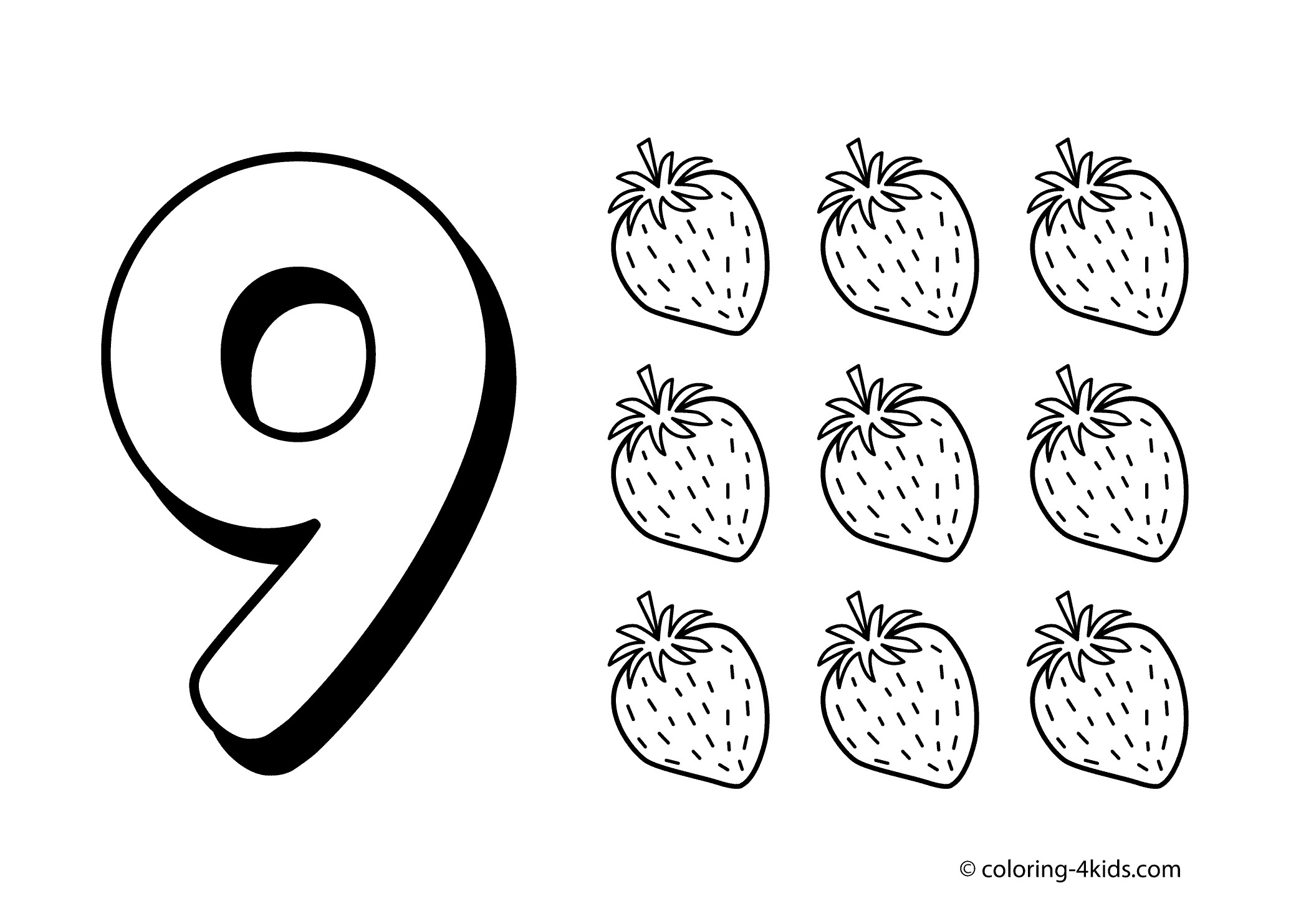 Preschool Number Coloring Pages Collection 5b - To print for your project