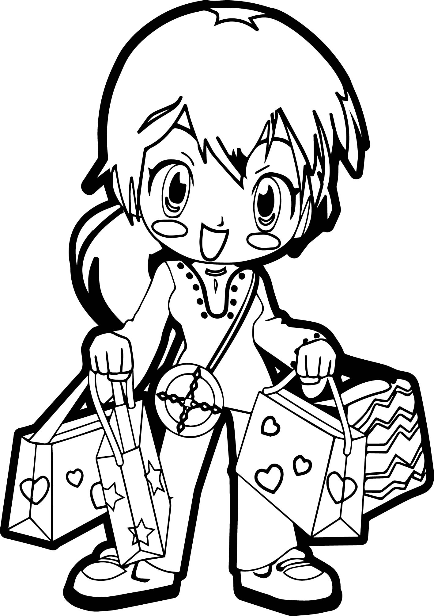 Pretty Cute Anime Girls Coloring Pages for Kids Womanmate Collection Of Christmas Shopping Coloring Page Download