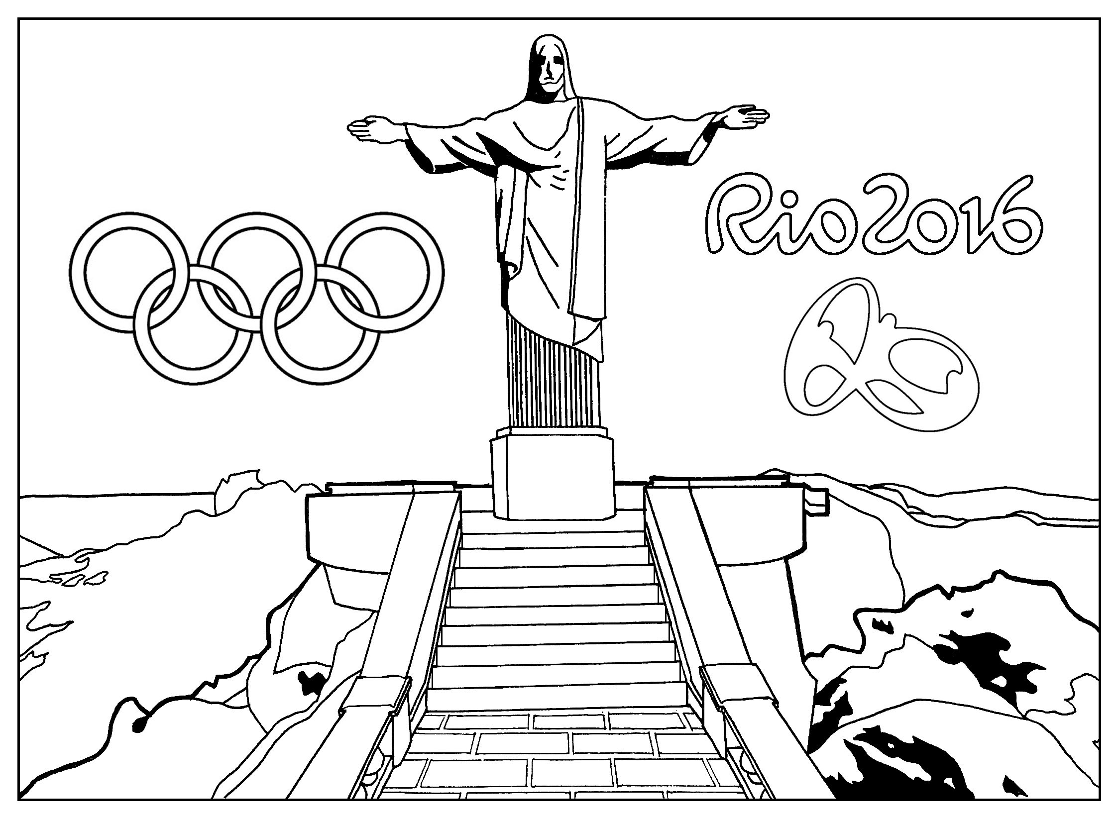 Rio 2016 Olympic Games Christ the Redeemer Statue Olympic & Sport Collection Of Olympic Swimming Coloring Pages Best Coloring Pages Games Image Printable
