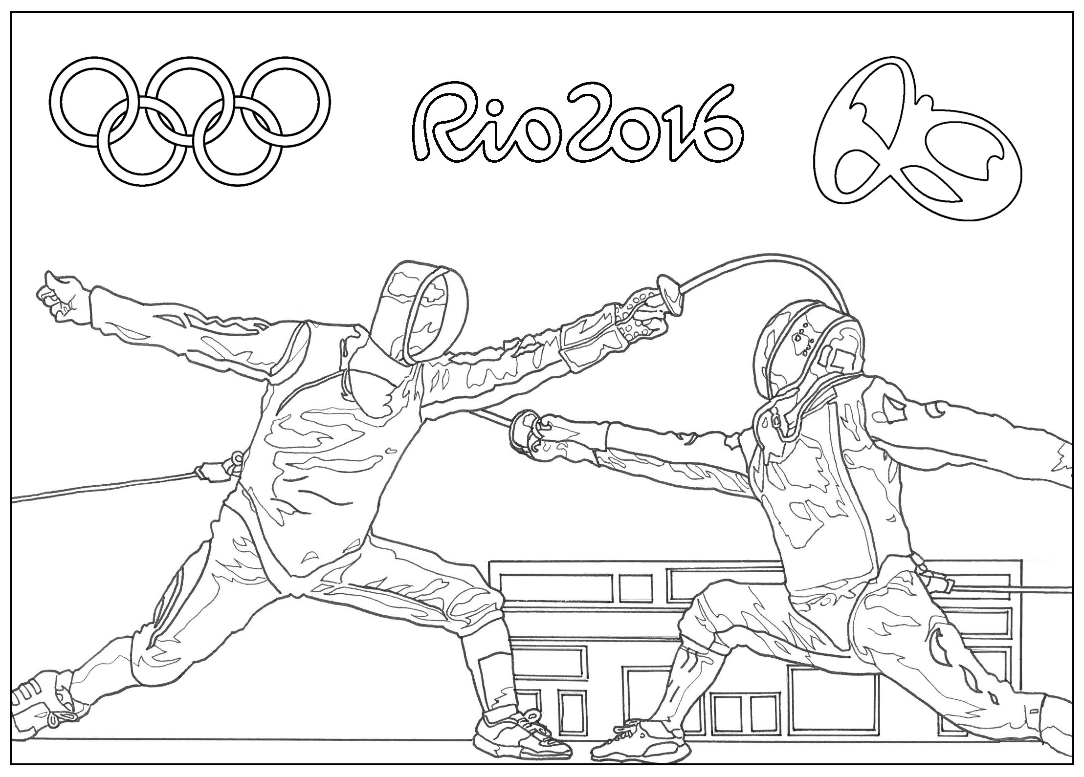 Rio 2016 Olympic Games Fencing Olympic & Sport Adult Coloring Pages Collection Of Olympic Games Gymnastic Paris 2024 Olympic & Sport Adult to Print