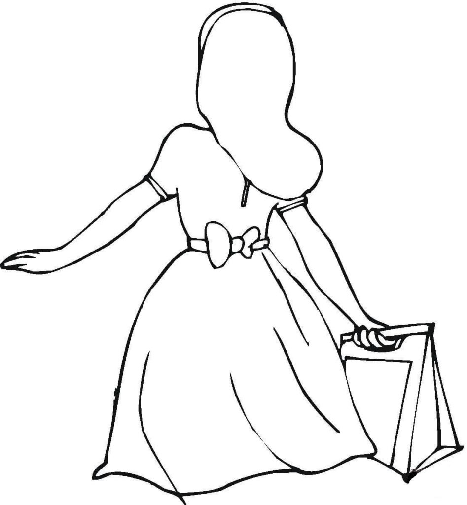 She Bought A Nice Dress Shopping Coloring Page Activities Fun Printable Of Pretty Cute Anime Girls Coloring Pages for Kids Womanmate Collection