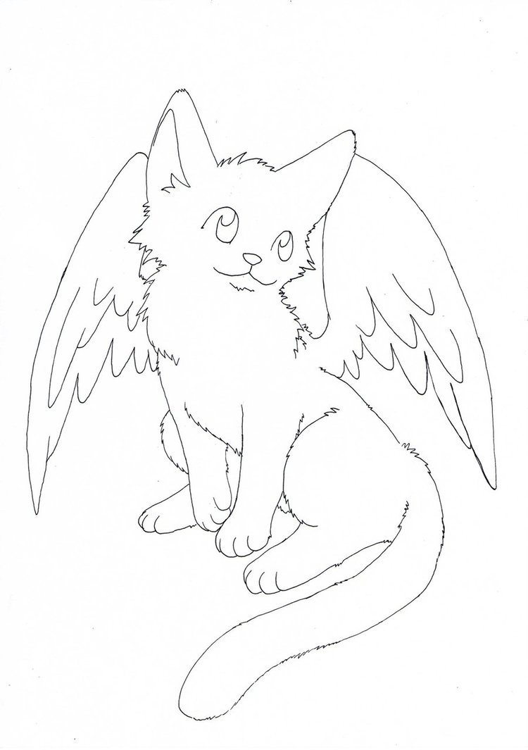 Winged Cat Coloring Pages to Print 2d - Save it to your computer