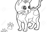 Cat Coloring Pages - Paw Print with Cat Coloring Pages Vector Royalty Free Cliparts