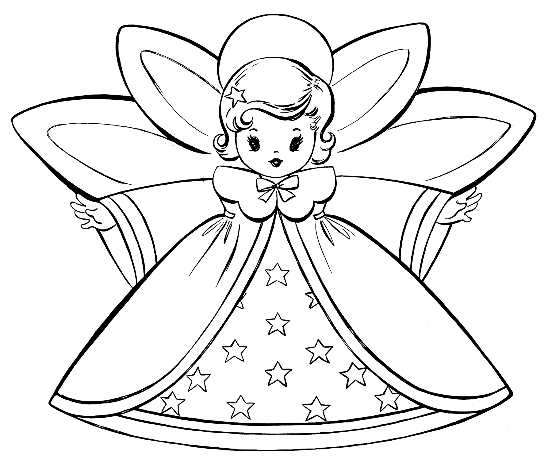 christmas coloring pages free christmas coloring pages retro angels the graphics fairy