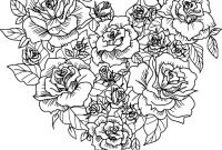 Flower Coloring Pages - Free Heart with Flowers Coloring Pages 3616