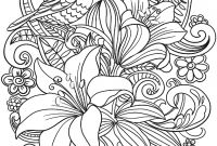 Flower Coloring Pages - Skylark and Flowers Coloring Page