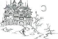 Halloween Coloring Pages - Halloween Castle and Skeleton Halloween Adult Coloring Pages