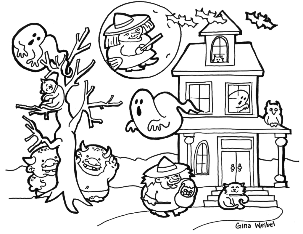 free printable coloring halloween pages | Halloween Coloring Pages Download | Free Coloring Sheets