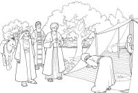 Abraham and Sarah Coloring Pages - Abraham and Three Visitors Coloring Page
