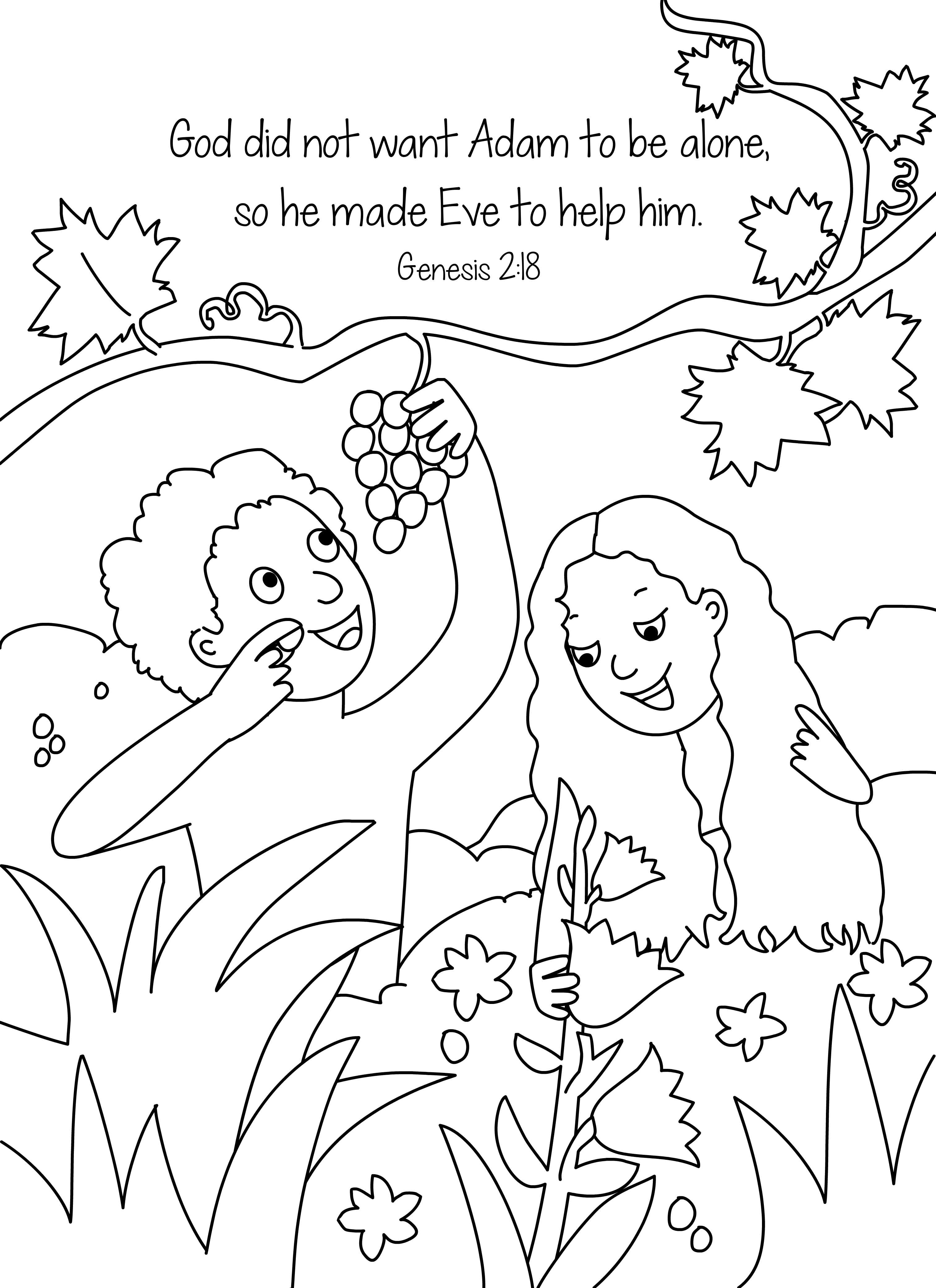 Adam and Eve Coloring Pages  Collection 10p - Save it to your computer