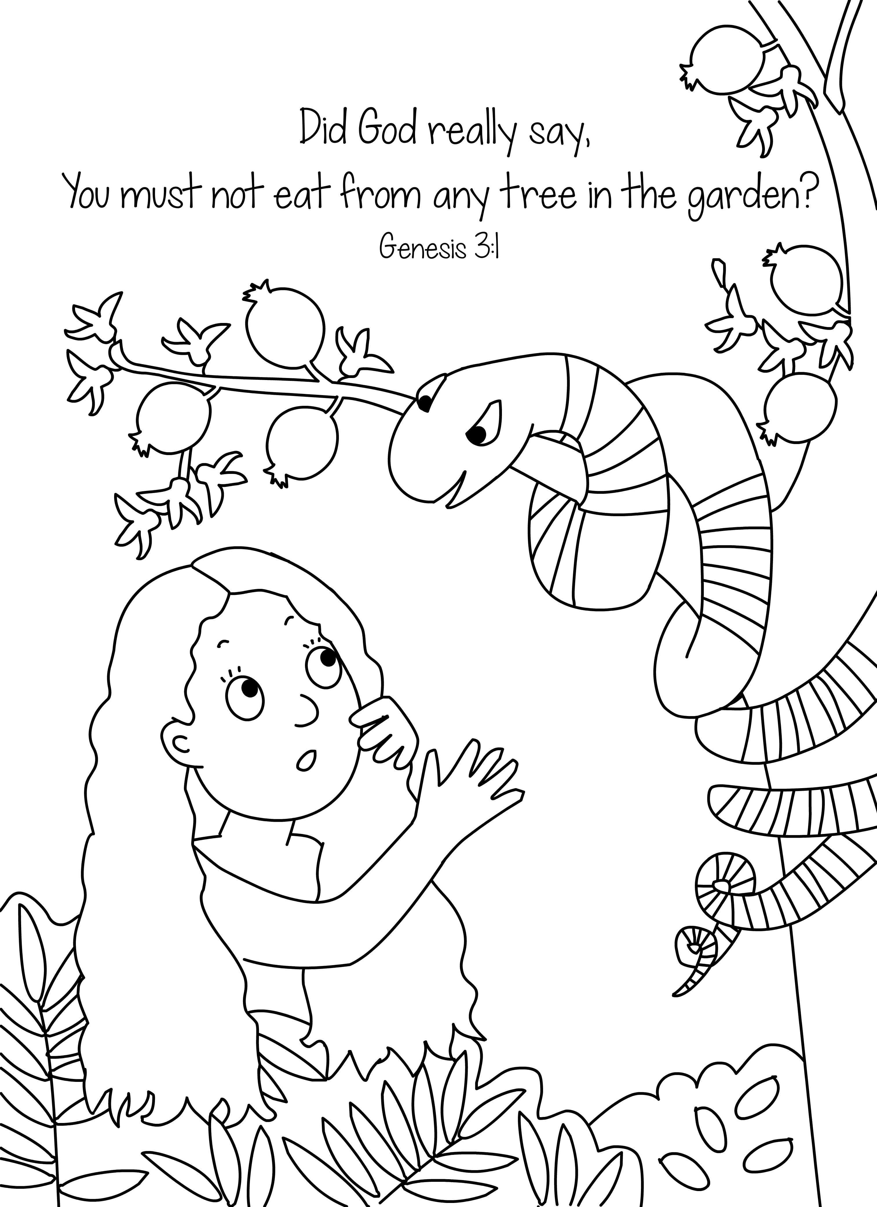 Adam and Eve Coloring Pages for Preschool  Printable 18d - Free Download