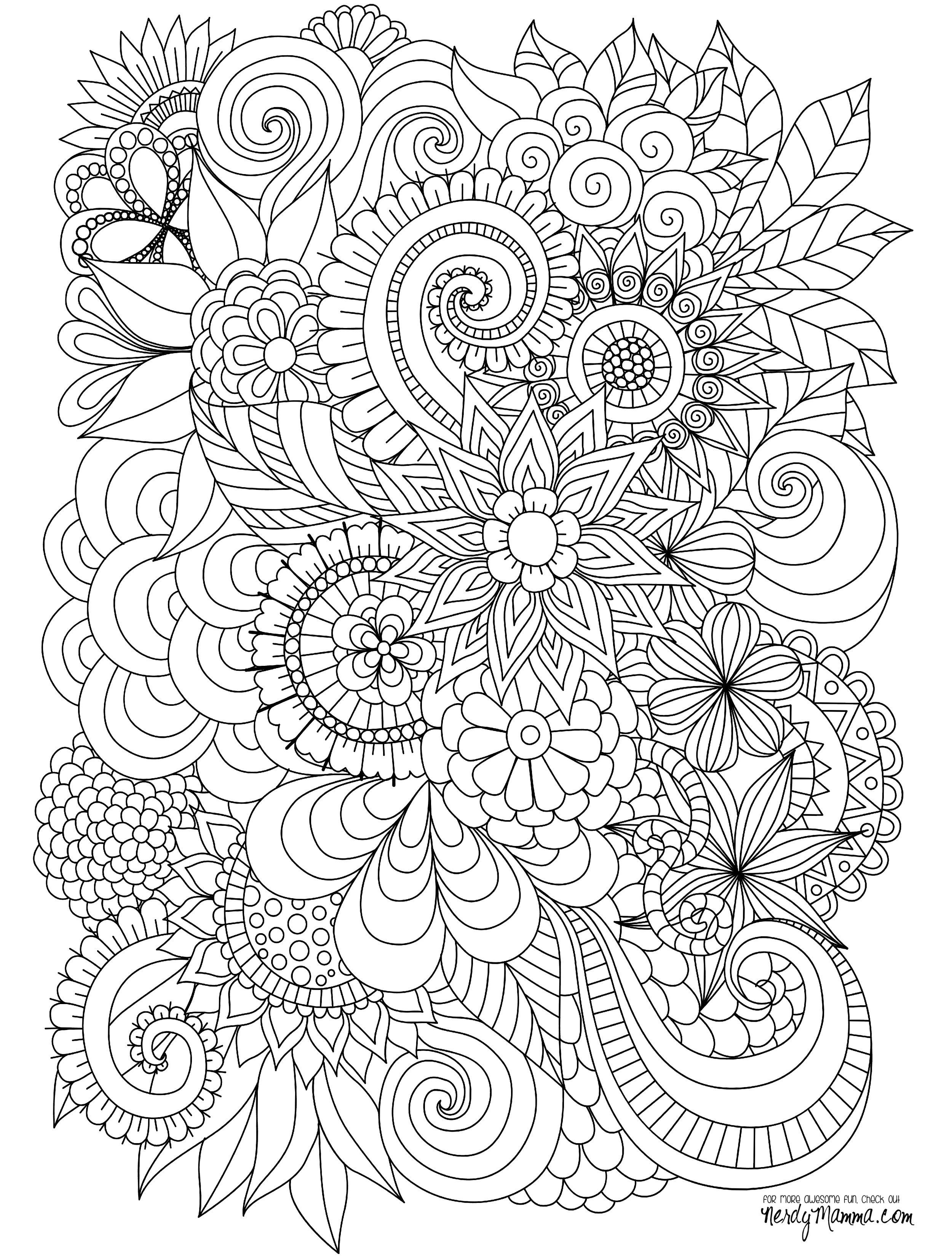 Advanced Coloring Pages Flowers  Collection 19a - Free Download