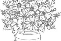Advanced Coloring Pages Flowers - Printable Vase and Flowers Coloring Page 4h Vases Flower to Color