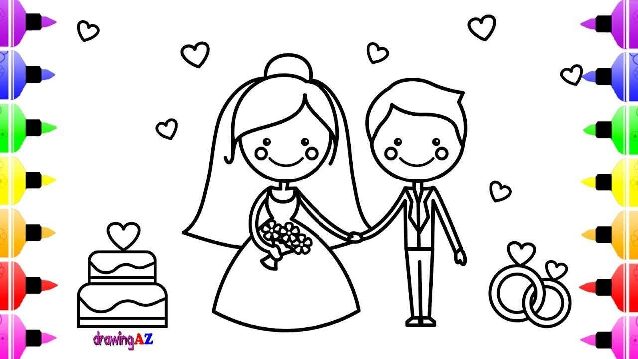 Bride and Groom Coloring Pages  Printable 4e - Free For Children
