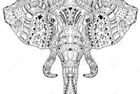 Buck Denver Coloring Pages - Elephant Head Doodle White Vector Sketch Stock Vector Image