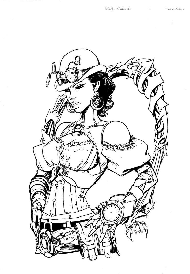 Bucky Barnes Coloring Pages - Lady Mechanika Inks 1 by Bruppert On Deviantart