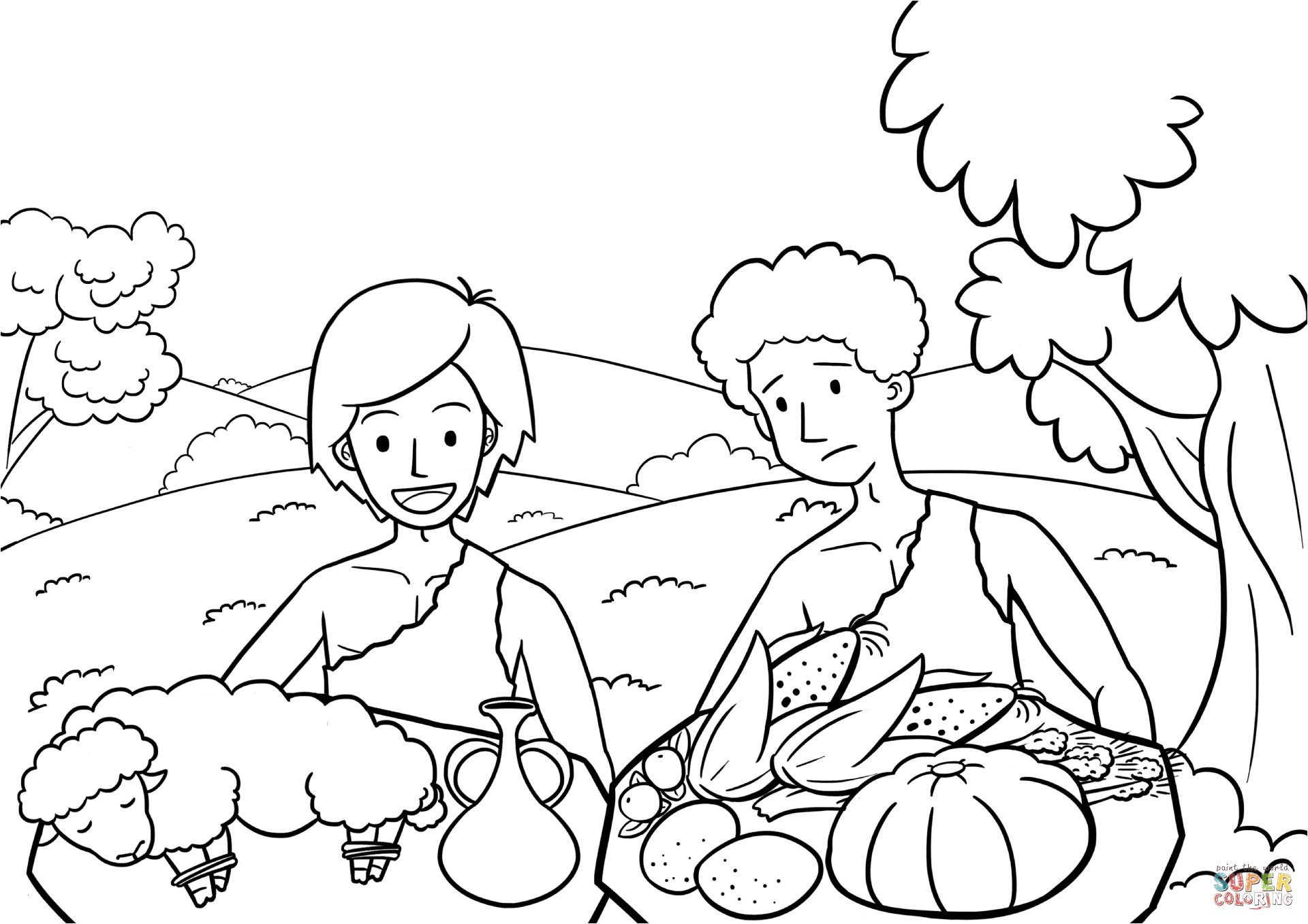 Cain and Abel Coloring Pages  to Print 16s - Free For kids
