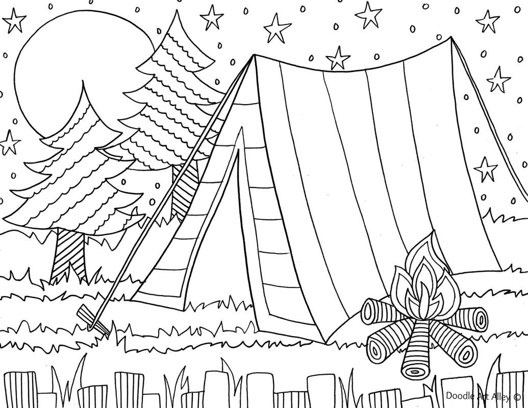 Camping Coloring Pages to Print  Printable 5p - To print for your project