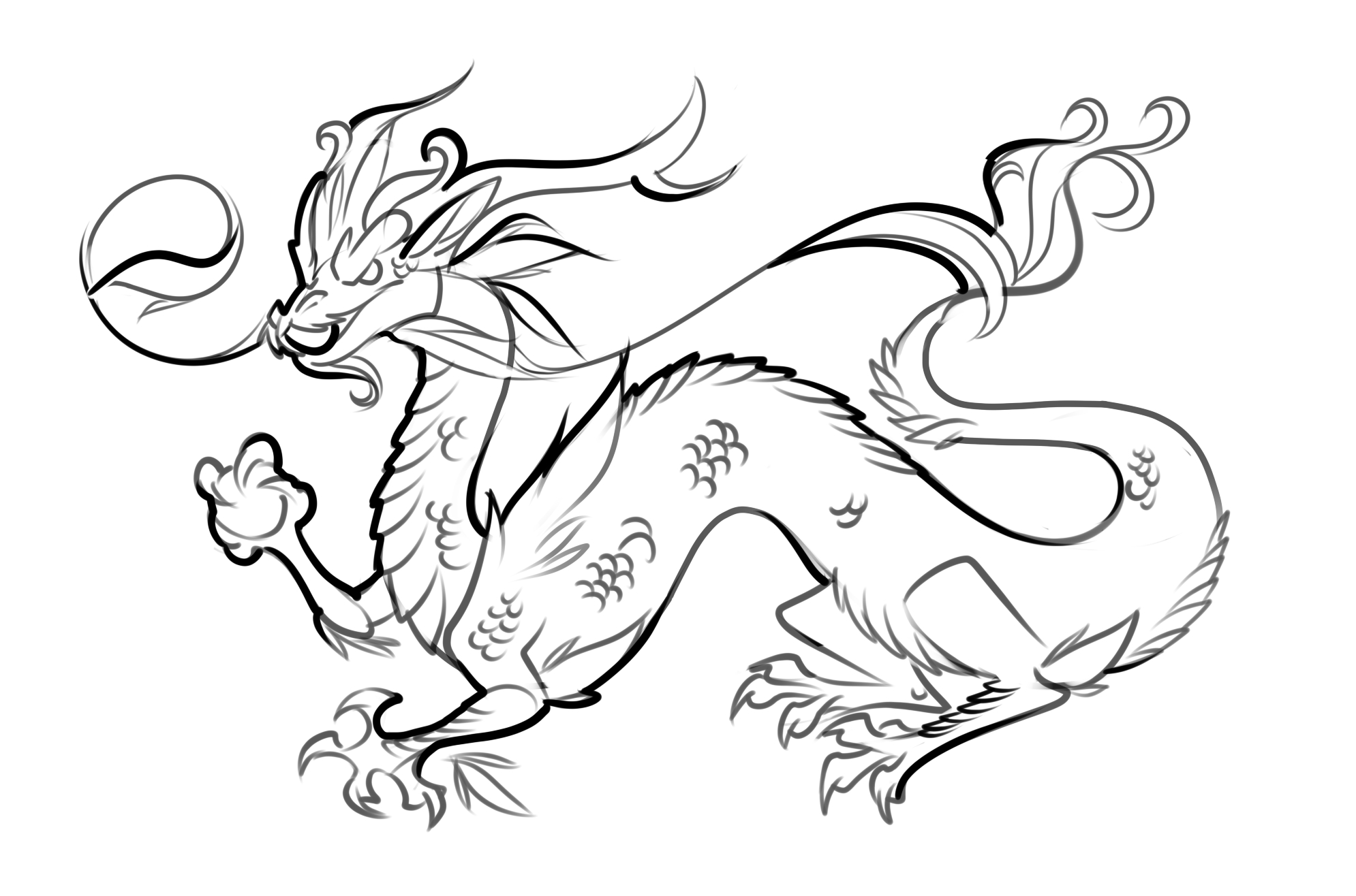 Chinese Dragon Coloring Pages  Download 4a - To print for your project