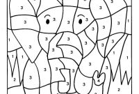 Color Counts Coloring Pages - Color by Numbers Elephant Coloring Pages for Kids Printable