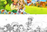 Coloring Pages Farm Scenes - Cartoon Scene Happy King Od Prince Em Ilustra§£o Stock