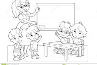 Coloring Pages Farm Scenes - Cartoon Scene with Children and Teacher In the Classroom Holding