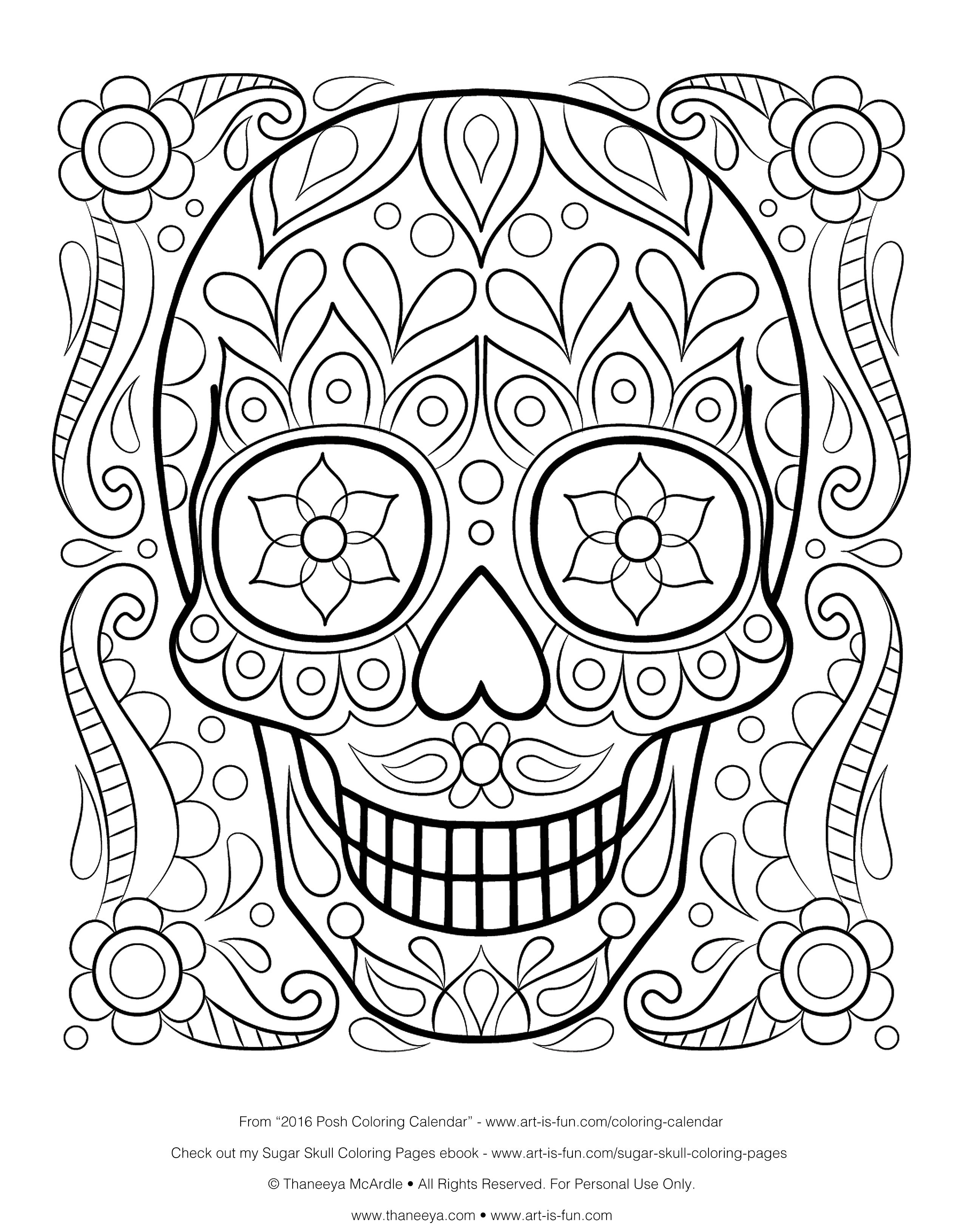 Coloring Pages Of Sugar Skulls  Download 7b - To print for your project