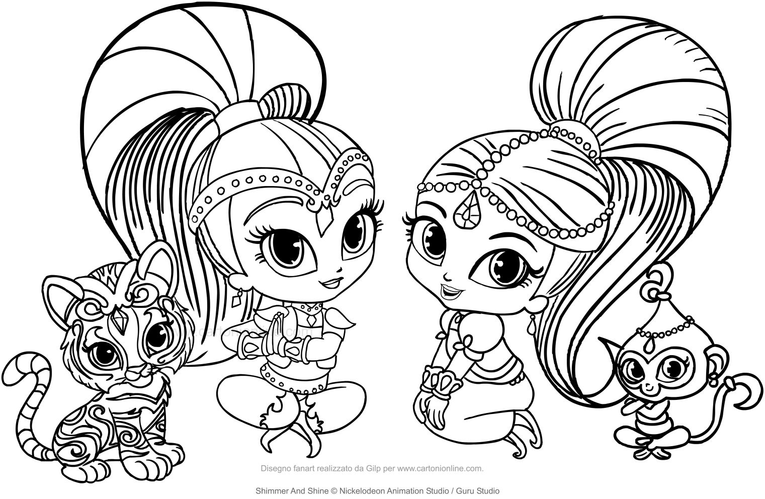 Coloring Pages Shimmer and Shine  Collection 3e - Free For Children