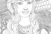 Coloring Pages Women - A Beautiful Young Slavic Woman In Traditional Dress with ornament