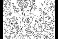 Coloring Pages Women - Girl In Floral Garden Color therapy App