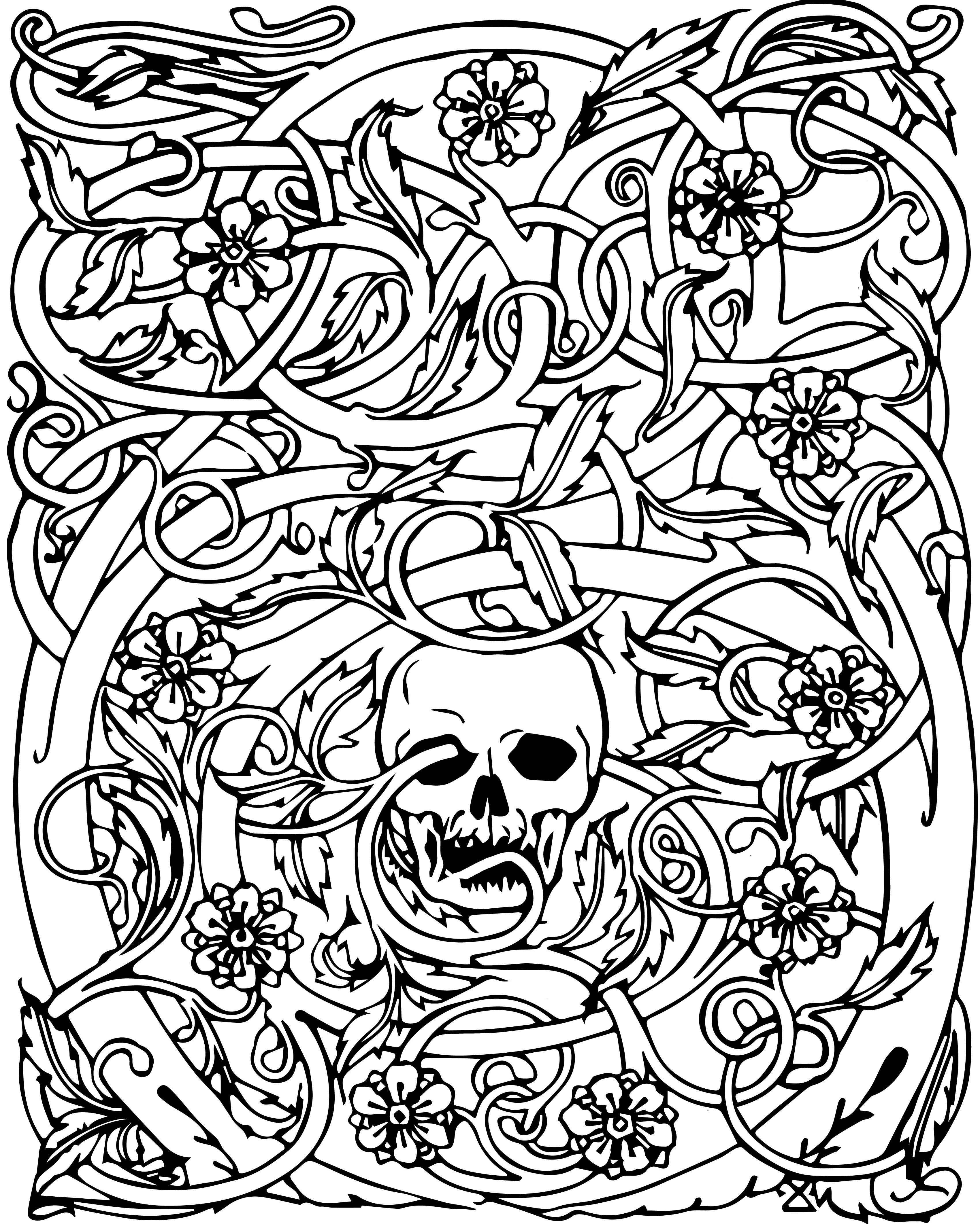 Cool Skull Coloring Pages  Collection 17f - To print for your project