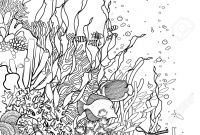 Coral Reefs Coloring Pages - Graphic Coral Reef Drawn In Line Art Style Ocean Plants and Rocks