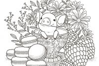 Cute Pig Coloring Pages - Pig In A Tea Cup Adult Coloring Page Coloring