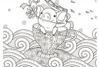 Cute Pig Coloring Pages - Pig In A Teacuop Coloring Page for Adults Kleuren Voor Volwassenen