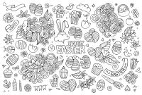 Doodle Art Coloring Pages - Simple Easter Doodle Easter Adult Coloring Pages
