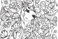 Dover Publications Coloring Pages - Free Printable Adult Coloring Pages Anime Girl with Flowers