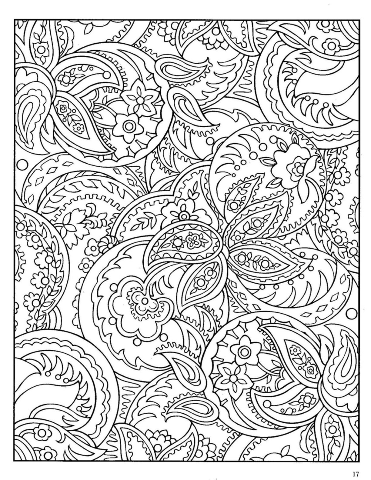 Easy Paisley Coloring Pages  to Print 13q - Free Download