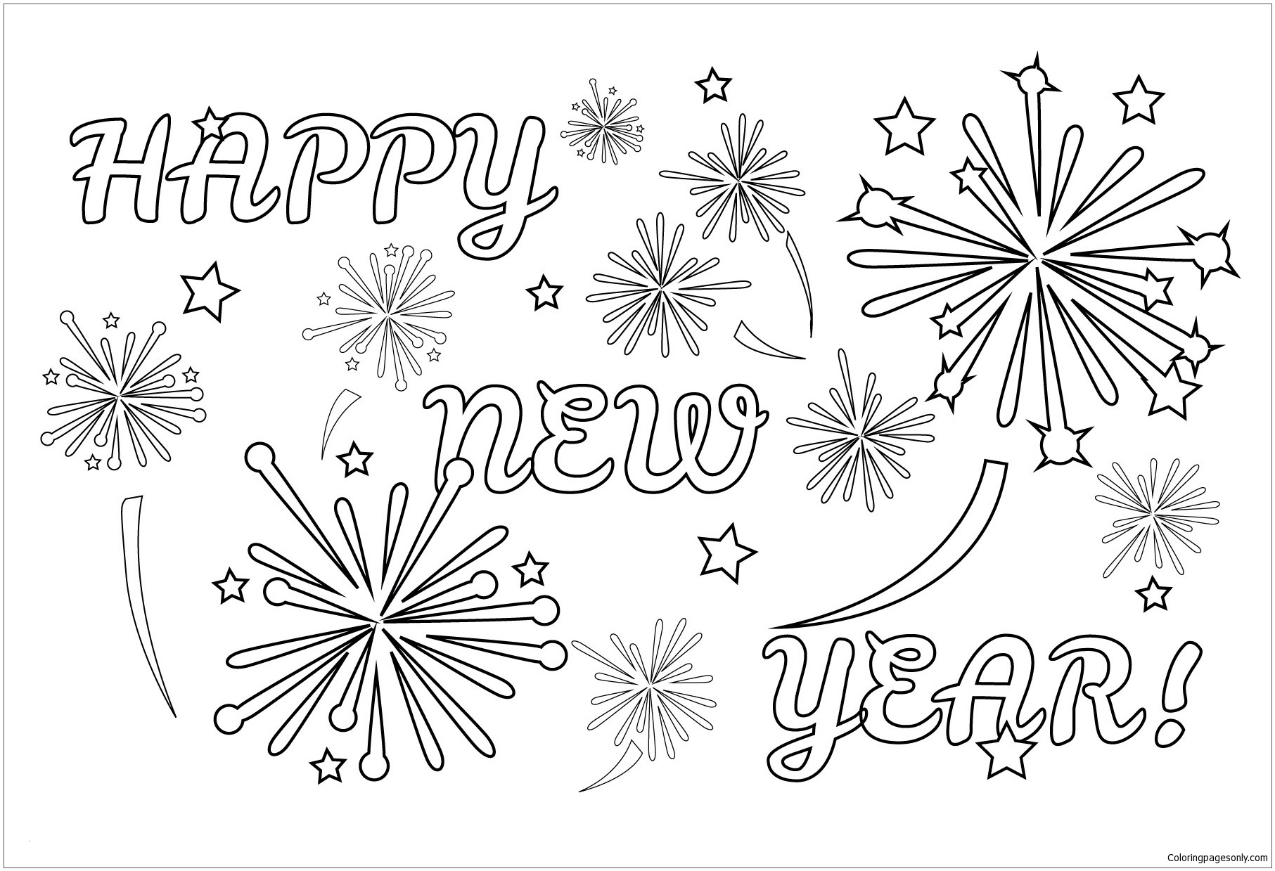 Firework Coloring Pages  Printable 11m - Save it to your computer