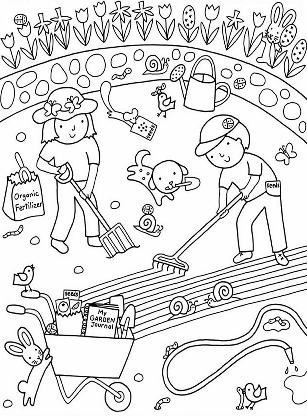 Flower Garden Coloring Pages  Printable 20l - Free For Children