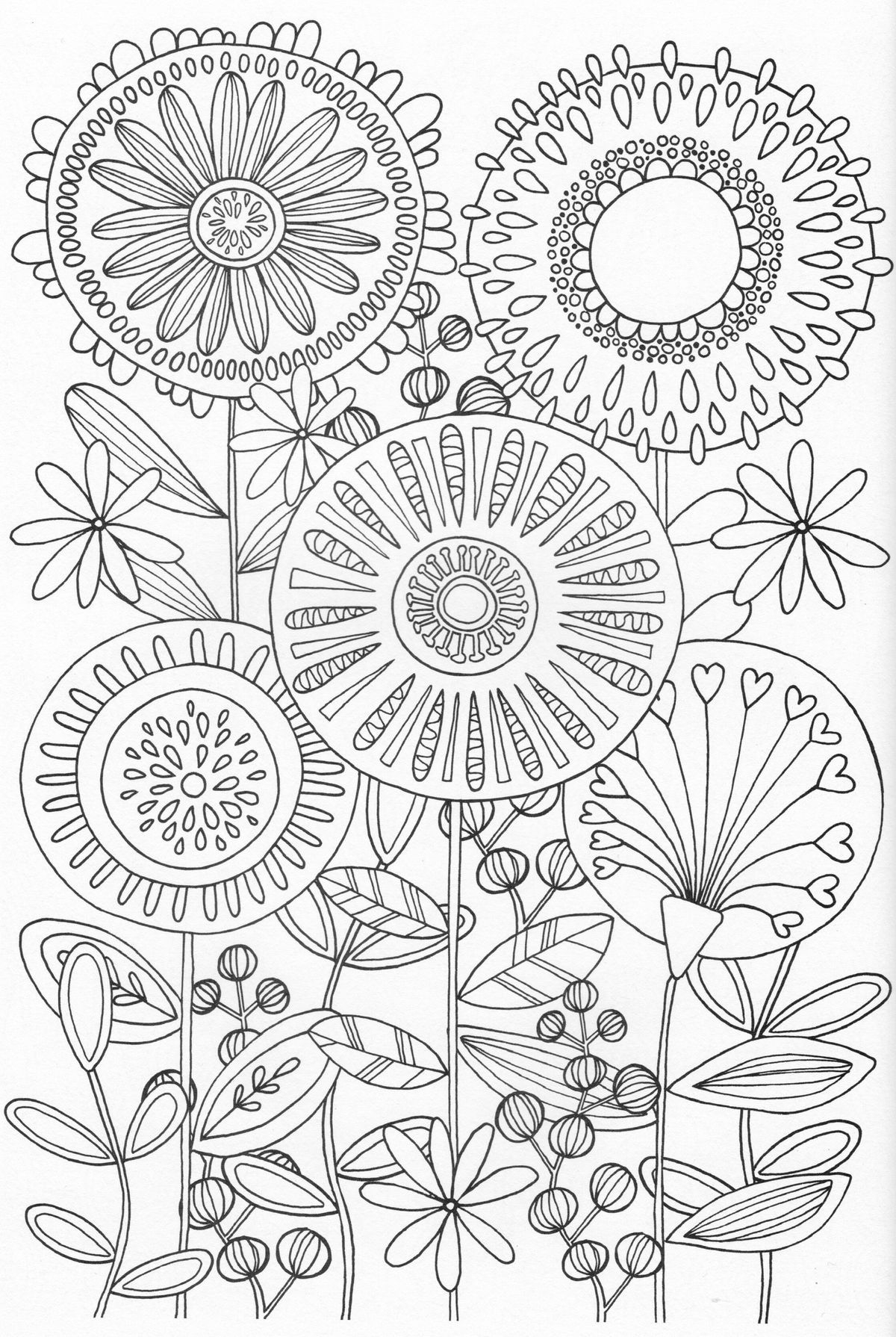 Flower Garden Coloring Pages  Printable 4t - Free Download