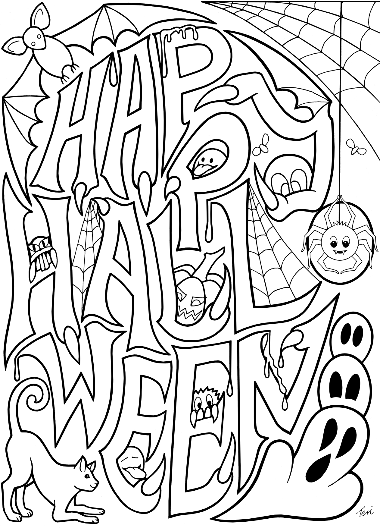Halloween Skeleton Coloring Pages  Printable 6g - To print for your project